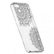 Husa Silicon Transparent Slim Black Flower 117 Apple iPhone 5 5S SE