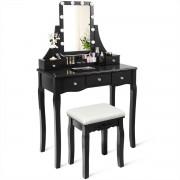 Costway Coiffeuse Table de Maquillage avec et 10 Lampes Miroir Pivotant à 360° 5 Tiroirs en Bois de Pin avec Tabouret Noir