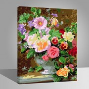 with wood frame, flower-142: Wood Frame, Paint by Numbers DIY Oil Painting Colourful Flowers Canvas Print Wall Art Home Decoration by Rihe