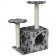 vidaXL Cat Tree Scratching Post 64 cm 1 House Grey with Paw Prints