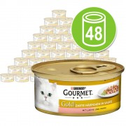48 x 85 g Gourmet Gold Bocaditos en Salsa - Pack mixto I: salmón y pollo / ternera y verdura / pollo e hígado / pavo y pato
