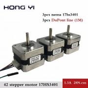 voor 3D printer 3 stk/partij 17HS3401 4-lead Nema17 Stappenmotor 42 motor 42 BYGH 1.3A CE ROSH ISO CNC met DuPont lijn