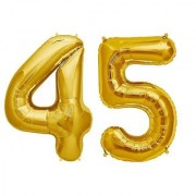 De-Ultimate Solid Golden Color 2 Digit Number (45) 3d Foil Balloon for Birthday Celebration Anniversary Parties