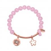 CO88 Armband met bedels bar/bloem/open bloem rosé/roze 8CB-50002
