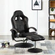 vidaXL Масажен стол с табуретка, сив, изкуствена кожа