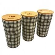 Set 3 recipiente depozitare Kassel, capac bambus, corp melamina, 93555, Maro