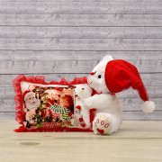White 12 Inch Christmas Teddy Bear with cap and personalized cushion