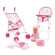 Mamatoy Mma05000 – Mama Mia Feed and Stroll Around Deluxe Set, Baby Doll That Drinks Pees, with Stroller, High Chair Feeding Accessories