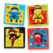 Baker Ross Ninja Sliding Puzzles - 8 Pocket Puzzles In 4 Assorted Designs. Brain Teasers For Kids. Ninja Party Bag Fillers. Size 6.3cm x 6.3cm.