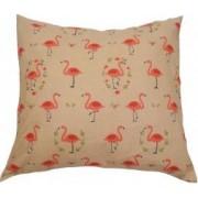 Perna decorativa dimensiune 50 x 50 cm model flamingo culoare bej
