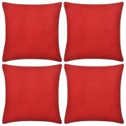 vidaXL Návliečky na vankúše, 4 ks, bavlna, červené, 50 x 50 cm