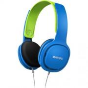 Casti audio pentru copii Philips SHK2000BL/00, izolare fonica, supraauriculare, Albastru/Verde