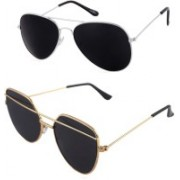 Daller Aviator, Retro Square Sunglasses(Black, Black)