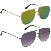 NuVew Retro Square Sunglasses(Golden, Grey)