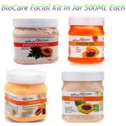 Bio Care Papaya Face Scrub+ Gel+ Mask+Cream Facial Kit 500gm Each Plastic Jar