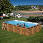 Дървен правоъгълен басейн Gre 600 x 400 x 133 cм