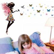 Samolepka na stenu motýlie dievča farební motýle (AL)
