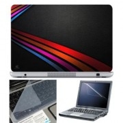 FineArts Laptop Skin 15.6 Inch With Key Guard & Screen Protector - Stripes on Leather