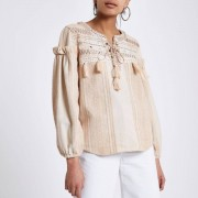River Island Womens Cream broderie tie neck smock top (Size 8)