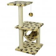 vidaXL 65 cm sárga macska kaparófa mancsnyomokkal
