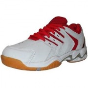 Port Red Super Spark Sports Badminton Shoes (White)