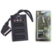 EMOS SB2300 EuroScart dugó - 3xEuroScart és 3xRCA+S-video aljzat ki/bemeneti kapcsolóval