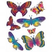 Merkloos 2x vellen met kinder raamstickers vlinders