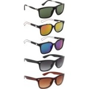 NuVew Rectangular, Wayfarer Sunglasses(Black, Blue, Brown, Grey, Green, Green, Pink)