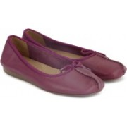 Clarks Freckle Ice Plum Leather Bellies For Women(Purple)