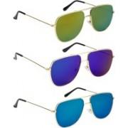 NuVew Retro Square Sunglasses(Blue, Golden, Green, Green)