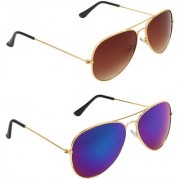 Zyaden Brown UV Protection Aviator Unisex Sunglasses (Pack of 2)