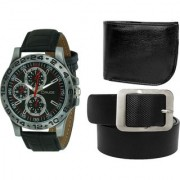 Crude Combo of Analog Black Dial Watch-rg739 With Black Leather wallet