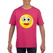 Shoppartners Emoticon diva t-shirt fuchsia/roze kinderen