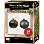Bellatio Decorations 24 Stuks mix glazen Kerstballen pakket grijsblauw 6 en 8 cm