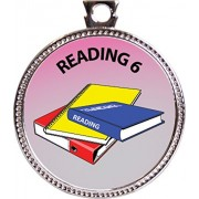 "Keepsake Awards Reading 6 Silver Award Disk ""Scholarship Studies Collection"" 1 inch dia"