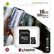 Kingston Canvas Select Plus Micro SD Kaart 10 UHS-I 16GB Opslagcapacitei