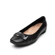 Clarks Women's Candra Glare Black Ballet Flats - 6 UK