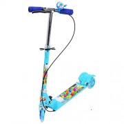KP SALES 3 wheeler scooter for kids to ride ons with brake & bell + LED lights on wheels + Height adjustable up to 76 cm & Fold able 3 wheel kick cycle/rider/scooter for children Age between 2.5 to 10 years, Multi color (BLUE / RED)
