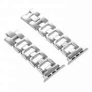 D-shape Rhinestone Decor Stainless Steel Watch Strap Replacement for Apple Watch Series 5 4 44mm/3/2/1 42mm - Silver