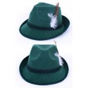 Geen Oktoberfest - Donkergroene Tirol hoed met veer