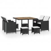 vidaXL Трапезен градински комплект, 21 части, черен полиратан, акация