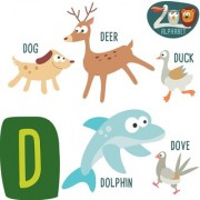 alphabet chart of animal start with d Alphabets and numbers Educational Poster for Kids Learning wall sticker paper poster