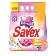 Detergent Pudra Automat pentru Rufe SAVEX 2 in 1 Color, Cantitate 4 Kg, 40 Spalari, Parfum Floral, Detergent Automat pentru Haine Colorate, Detergenti Pudra pentru Haine, Solutii Curatare a Hainelor, Detergenti pentru Haine Colorate