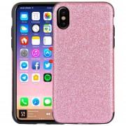 Para IPhone X TPU + PU Protectora A Prueba De Polvo Del Brillo Gota Volver Funda (rosa)