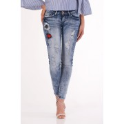 Jeans slim fit cu talie joasa