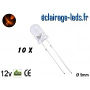 Lot de 10 LEDs oranges 2500 mcd 595 nm 30° ref ld-09
