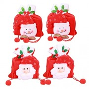 TOYMYTOY 4pcs Christmas Candy Bags Non-Woven Handbag Snowman Santa Gift Bag Home Party Decorations(Old Man + Snowman)