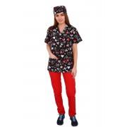 Costum medical Love, cu bluza cu imprimeu si pantaloni rosii cu elastic
