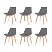 vidaXL Jídelní židle 6 ks šedé plastové sedáky, bukové nohy