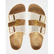 Birkenstock Arizona Narrow Fit Shiny Snake Cream Flat Sandals - Cream